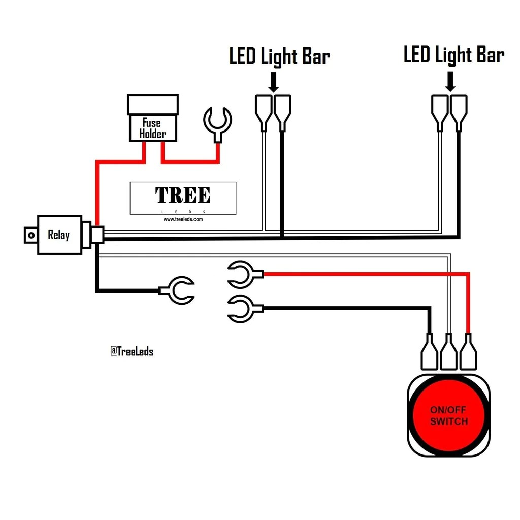 small resolution of  led trailer light bar wiring harness two lead tree leds on led on off toggle