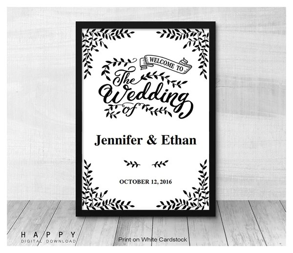Rustic Leaves  Welcome Sign template  Happy Digital Download