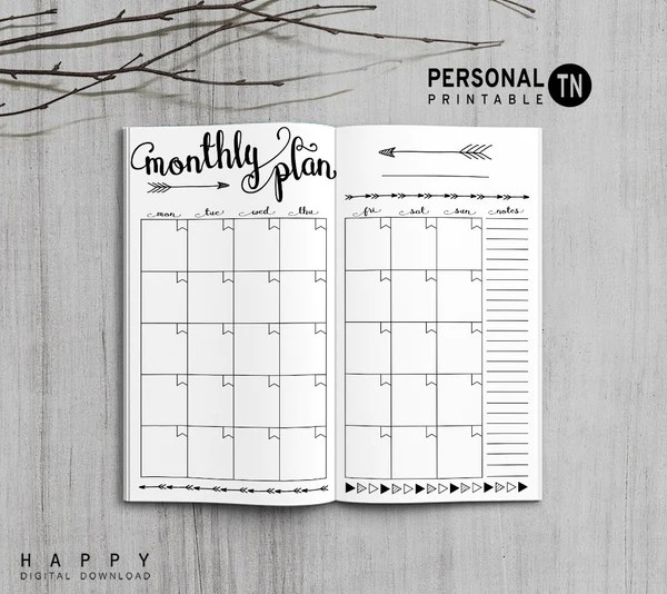 Printable Travelers Notebook Monthly Insert  Personal TN  Arrow  Happy Digital Download