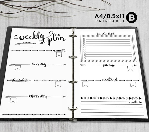 Printable A4 Letter Weekly Planner Inserts A4  Letter Binder  Happy Digital Download