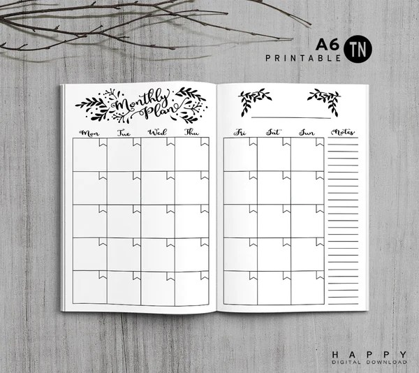 Printable Travelers Notebook Monthly Insert  A6 TN