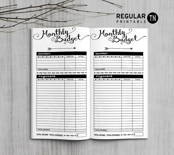 Printable Travelers Notebook Monthly Budget Insert
