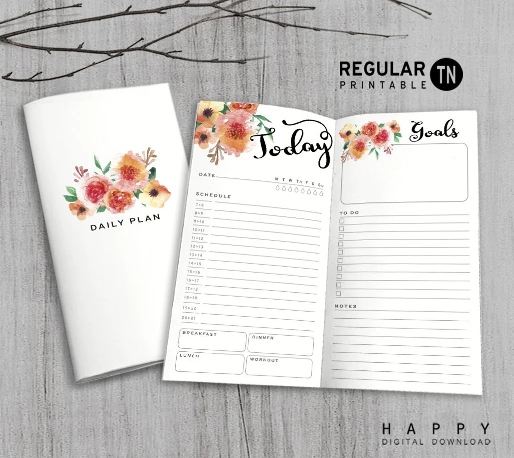Printable Daily Planner Inserts for Midori Travelers Notebook Bullet Journal  Happy Digital