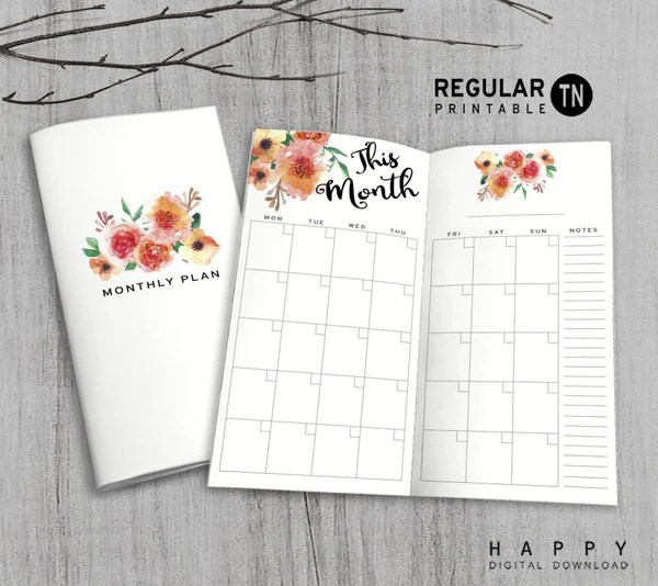 Printable Monthly Planner Inserts for Midori Travelers Notebook  MTN Regular  Happy Digital