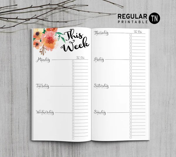 Printable Weekly Planner Inserts for Midori Travelers