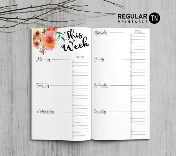 Printable Weekly Planner Inserts for Midori Travelers Notebook Bullet Journal  Happy Digital