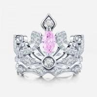 Crown-shaped Pink Diamond Engagement Ring  EverMarker