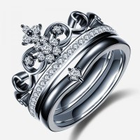 Crown Shape Black Diamond Engagement Ring  EverMarker