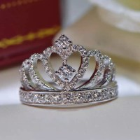 925 Sterling Silver Princess Crown Zircon Inlay Engagement ...