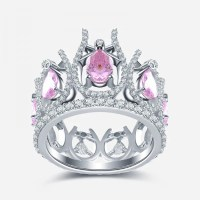 Crown-shaped Pink Diamond 925 Sterling Silver Engagement ...