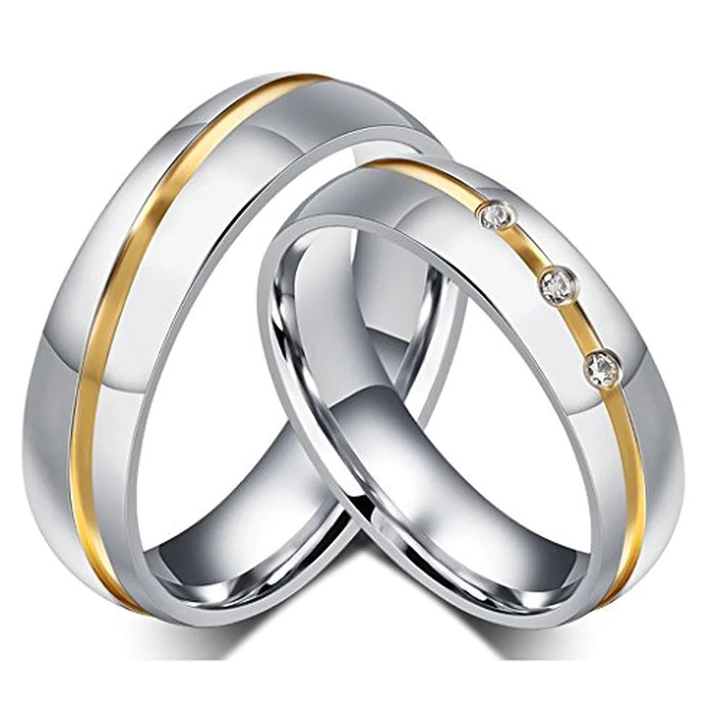 Stainless Steel Couple Wedding Bands Rings  Evermarker