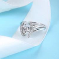 Sterling Silver Horseshoe Diamond Inlaid Dancing Diamond ...