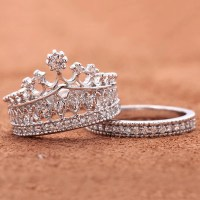 Crown Rhinestone Pave Women Engagement Ring Set  EverMarker