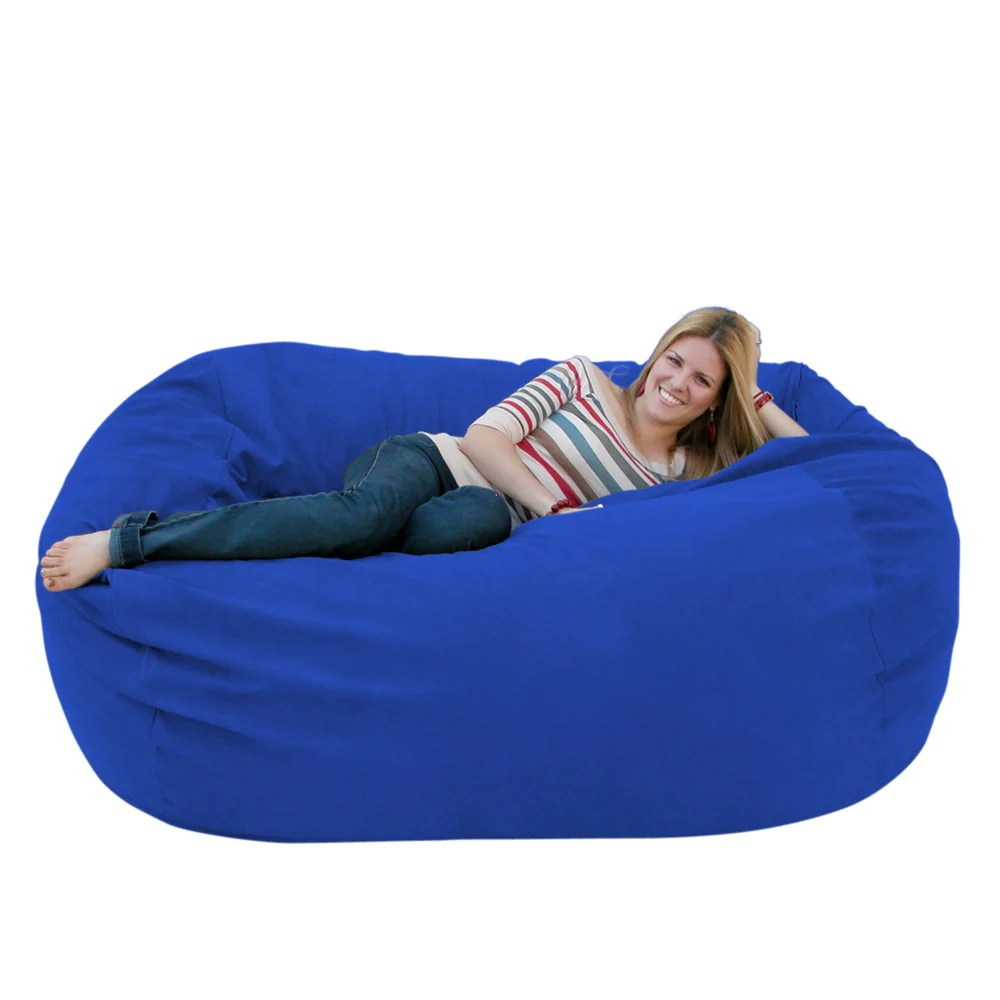 blue bean bag chairs acrylic side chair large 6 foot cozy sack premium foam filled liner plus royal