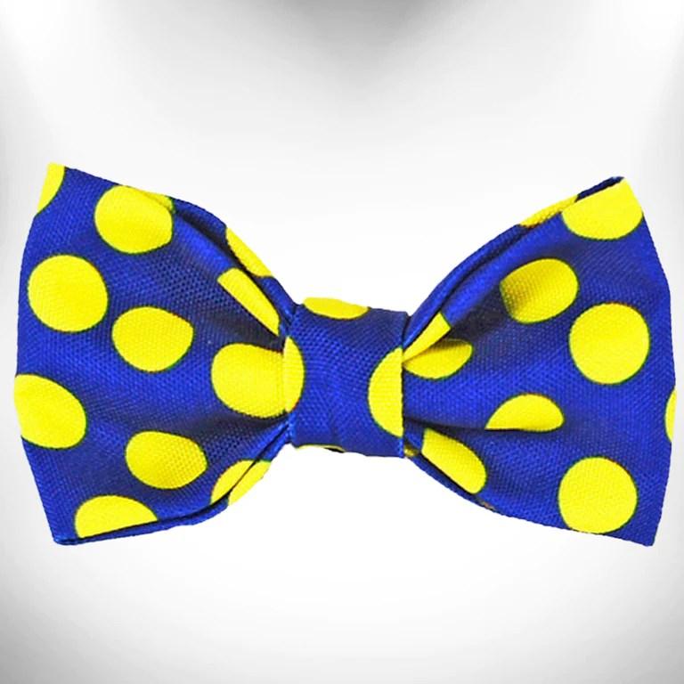 photo Blue Yellow Polka Dots neon yellow polka dots on blue doggie bow tie