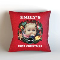Personalized Baby's First Christmas Pillow Cover | Mostly ...
