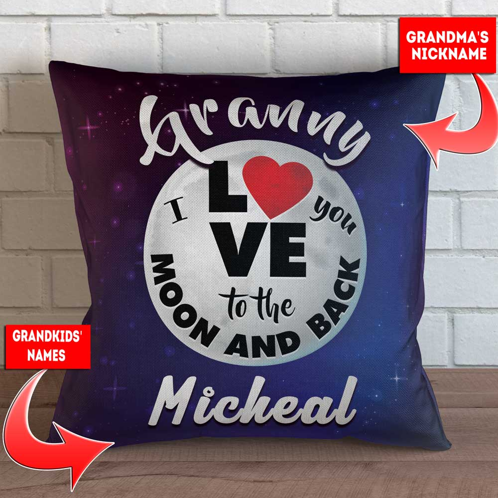 personalized grandma love you to the moon and back throw pillow cover 18 x 18