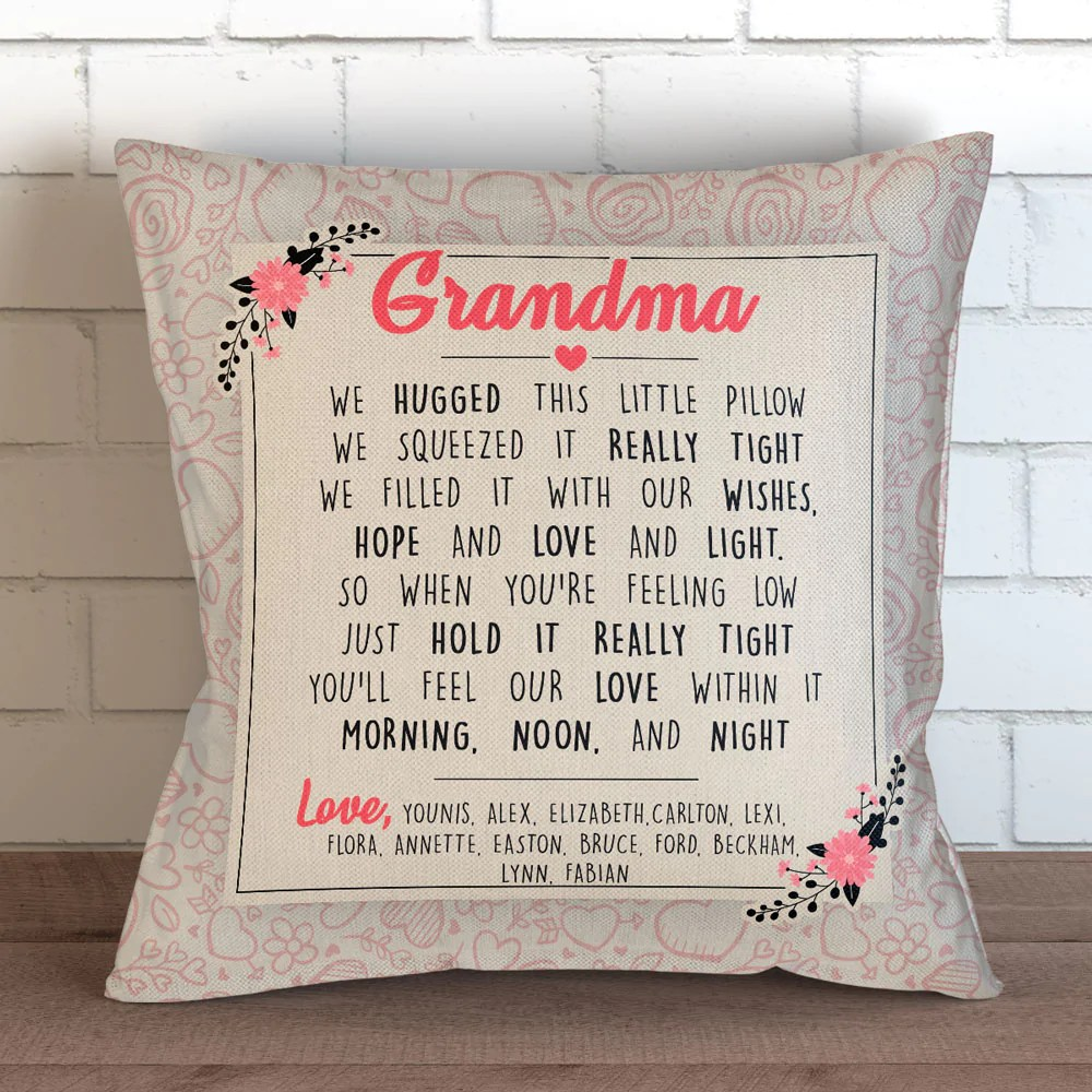 personalized grandma we hugged this pillow cover 18 x 18