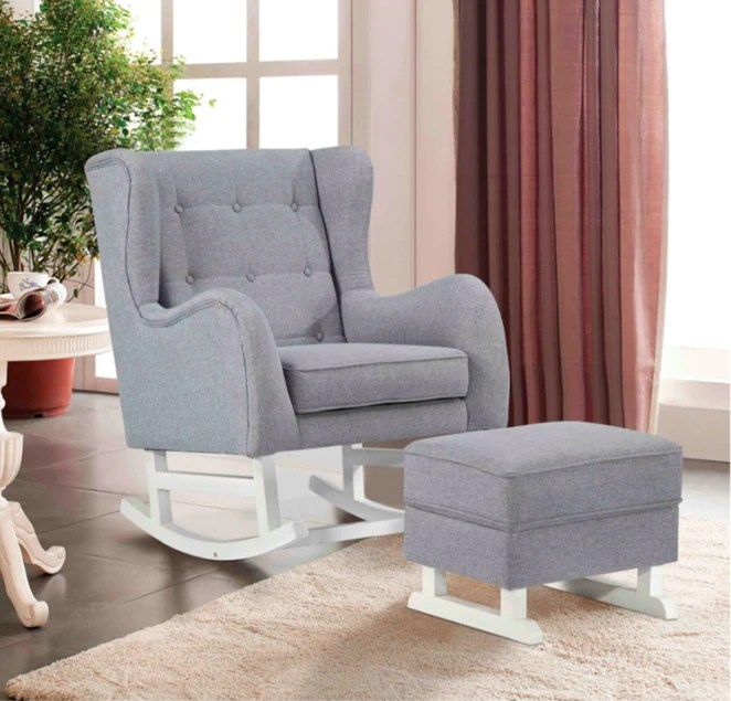 maternity rocking chair country french dining chairs fine mod imports with ottoman gray fabric have a question