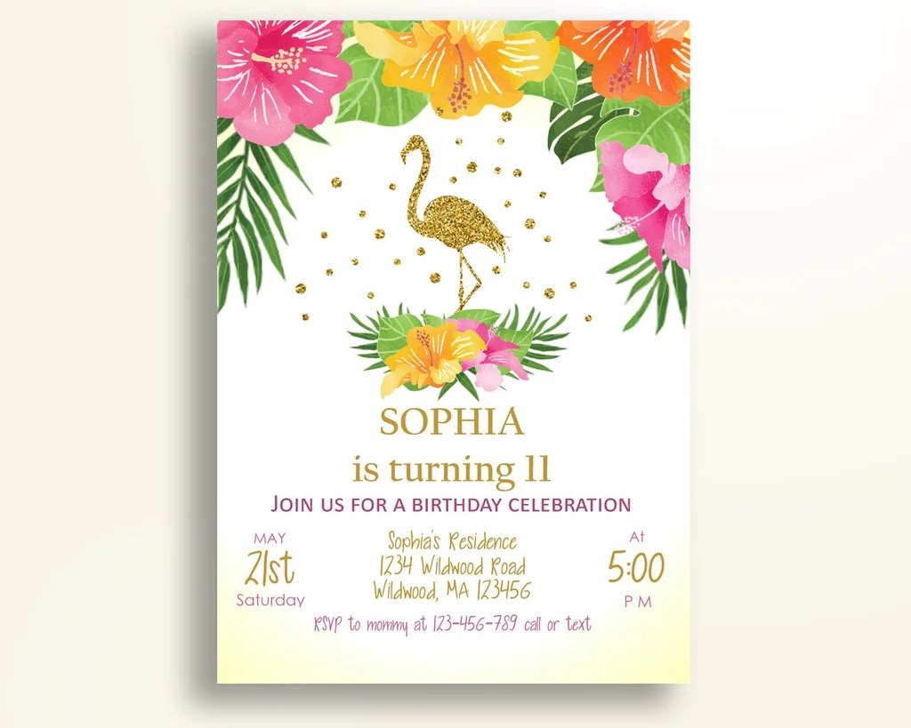 flamingo birthday invitation gold