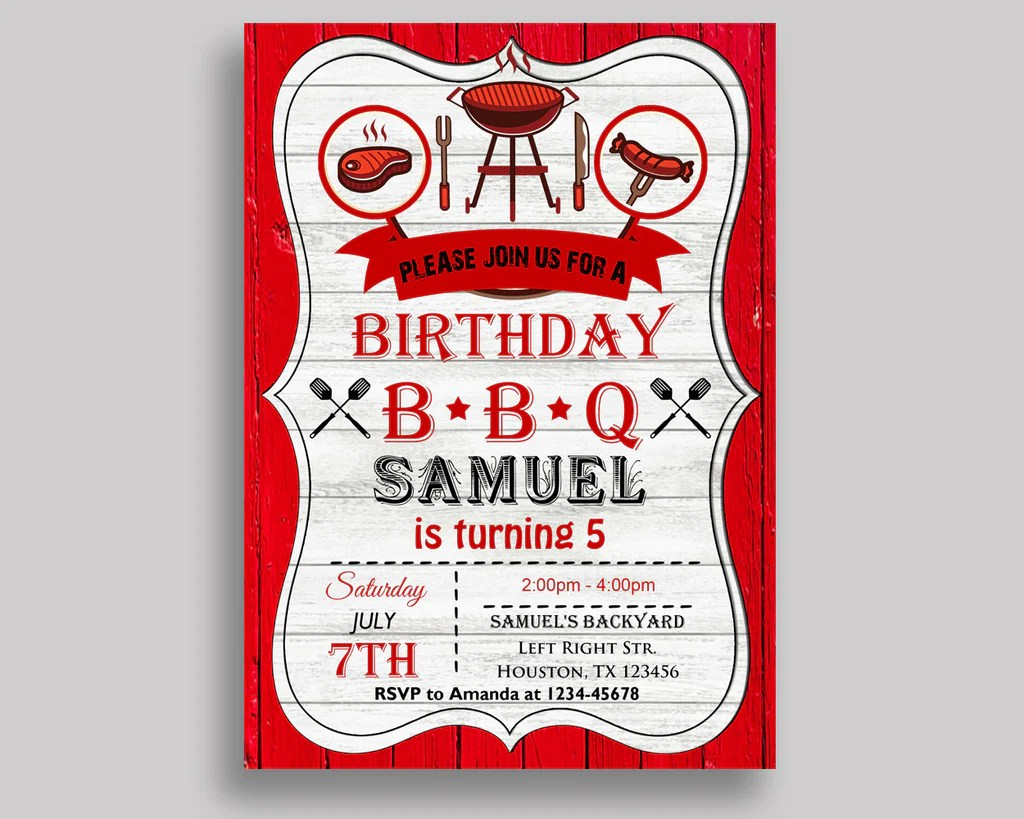 editable birthday invitation bbq