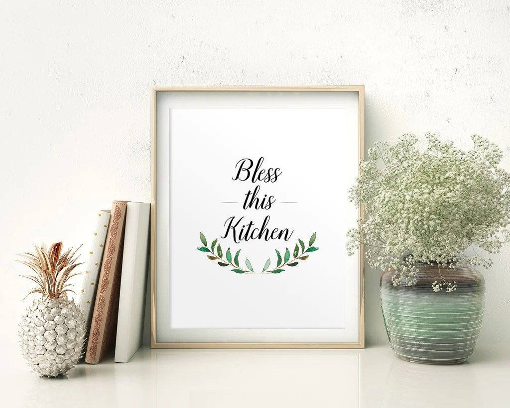 kitchen art decor kohler purist faucet wall bless printable prints sign print