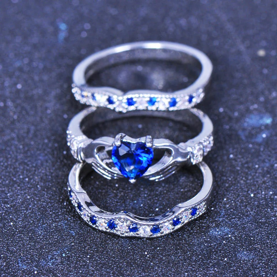 Exquisite Blue Diamond Claddagh Ring Set Madison Audrey