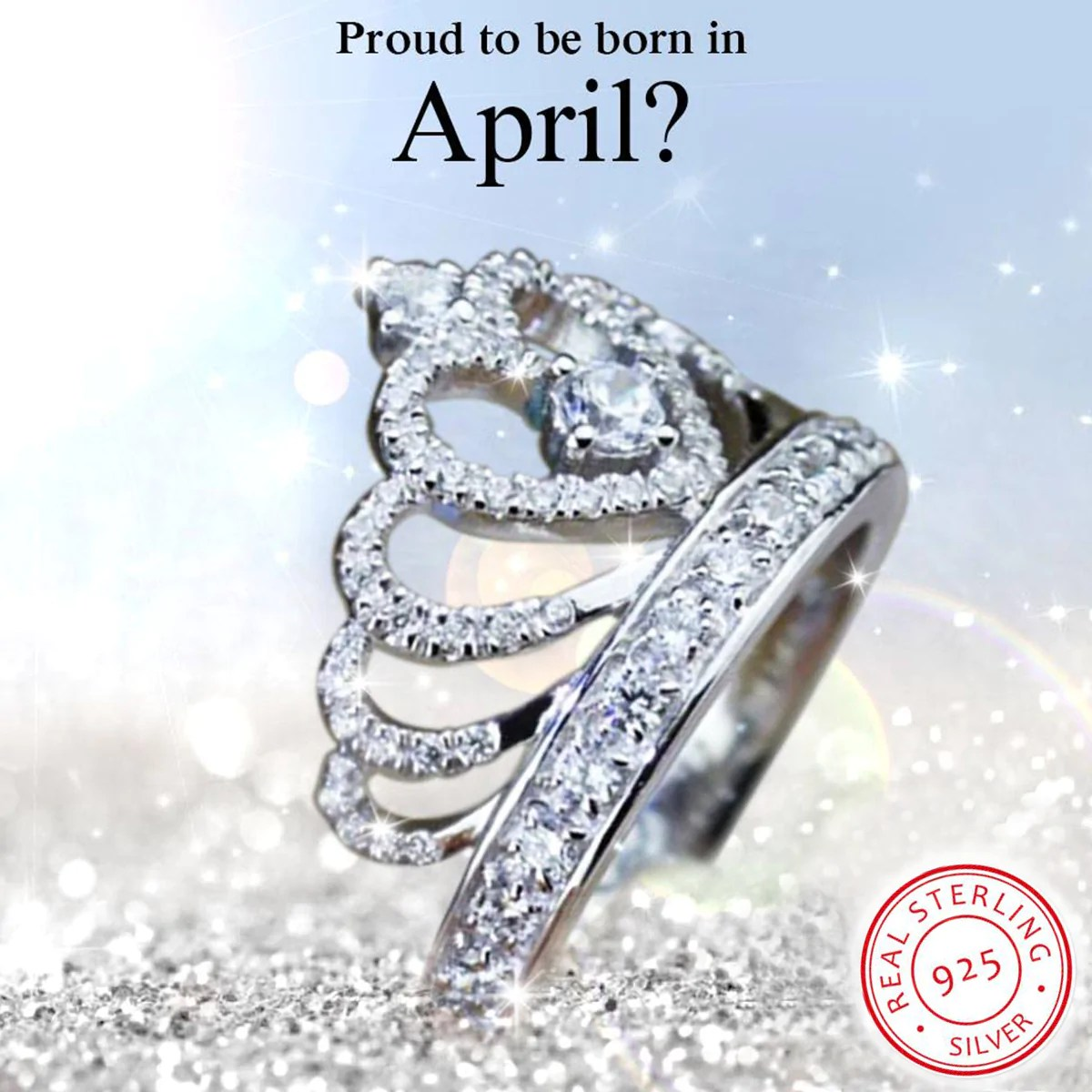 925 Sterling Silver April Birthstone Ring Madison Audrey
