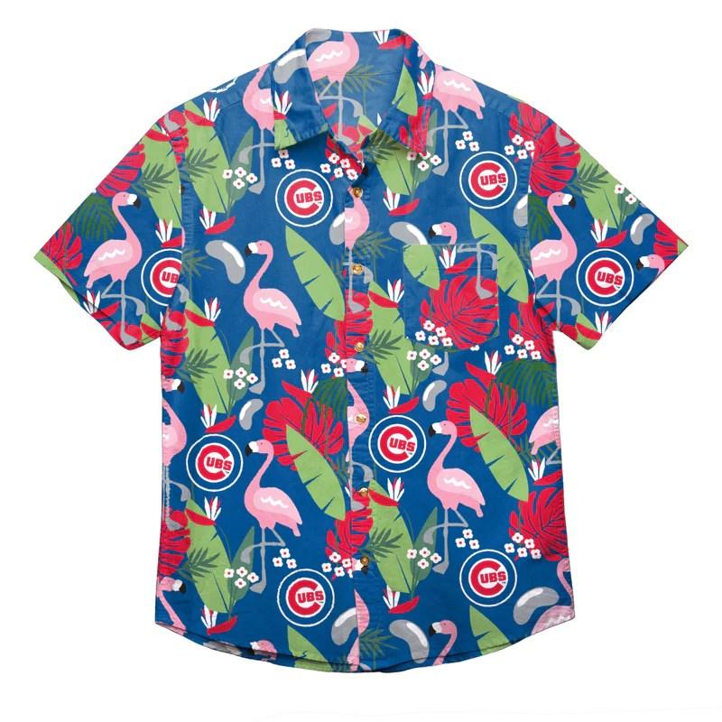 Chicago Cubs Mlb Mens Floral Button Shirt