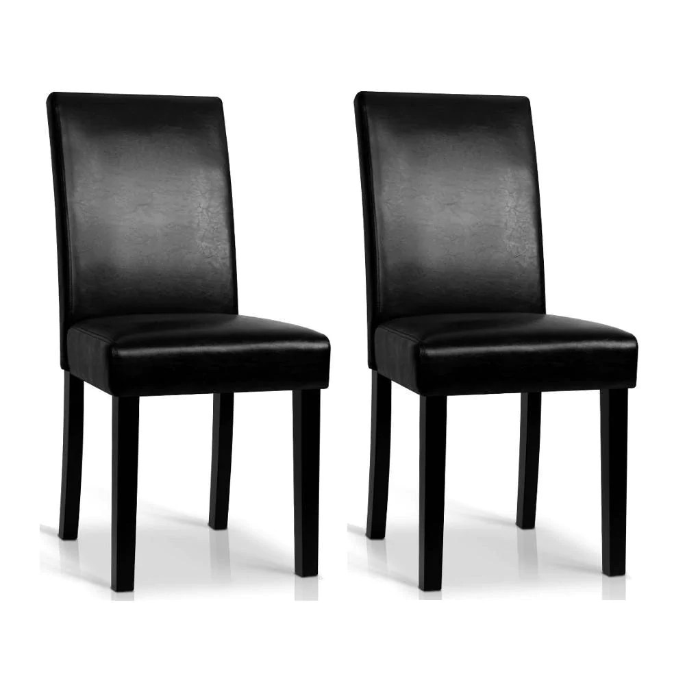 Black Leather Dining Chairs Rushing Dining Chair Set Of 2 Pu Leather Black
