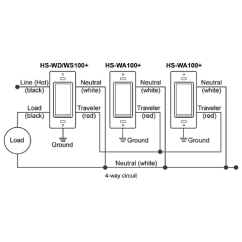 4 Way Switch With Dimmer Wiring Diagram Led Turn Signal Flasher Homeseer Hs Wa100 Wired 3 Companion For Dimmers Ws100 And