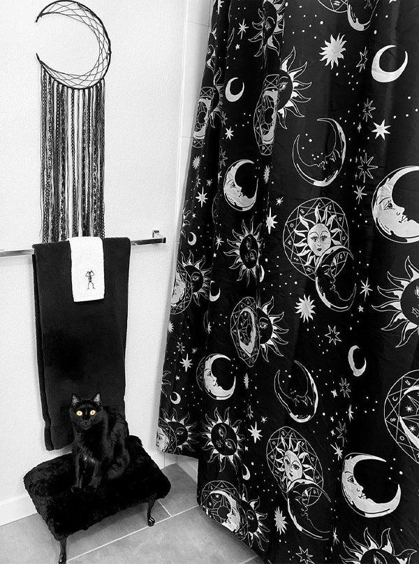 astral light shower curtain by killstar