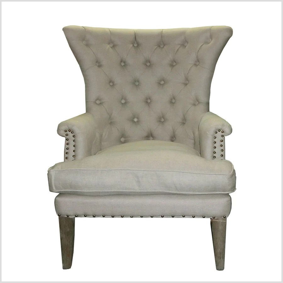 Wingback Tufted Chair Tufted Washed Hemp Wing Back Arm Chair