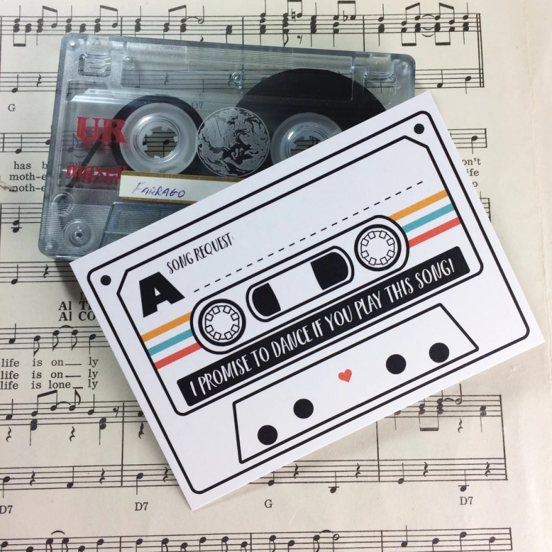 Wedding Song Request Cards - Tape Cassette Mixtape Inspired Design (Pa –  Love Me Do Designs