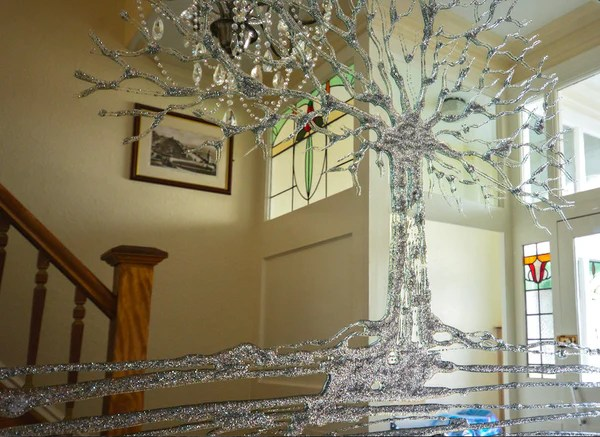 Silver Glitter Swarovski Tree Liquid Glass Wall Art Mirror