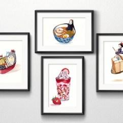 Kitchen Art Black Sink Set Of 4 Studio Ghibli Watercolor 5x7 Prints Penelopeloveprints 1