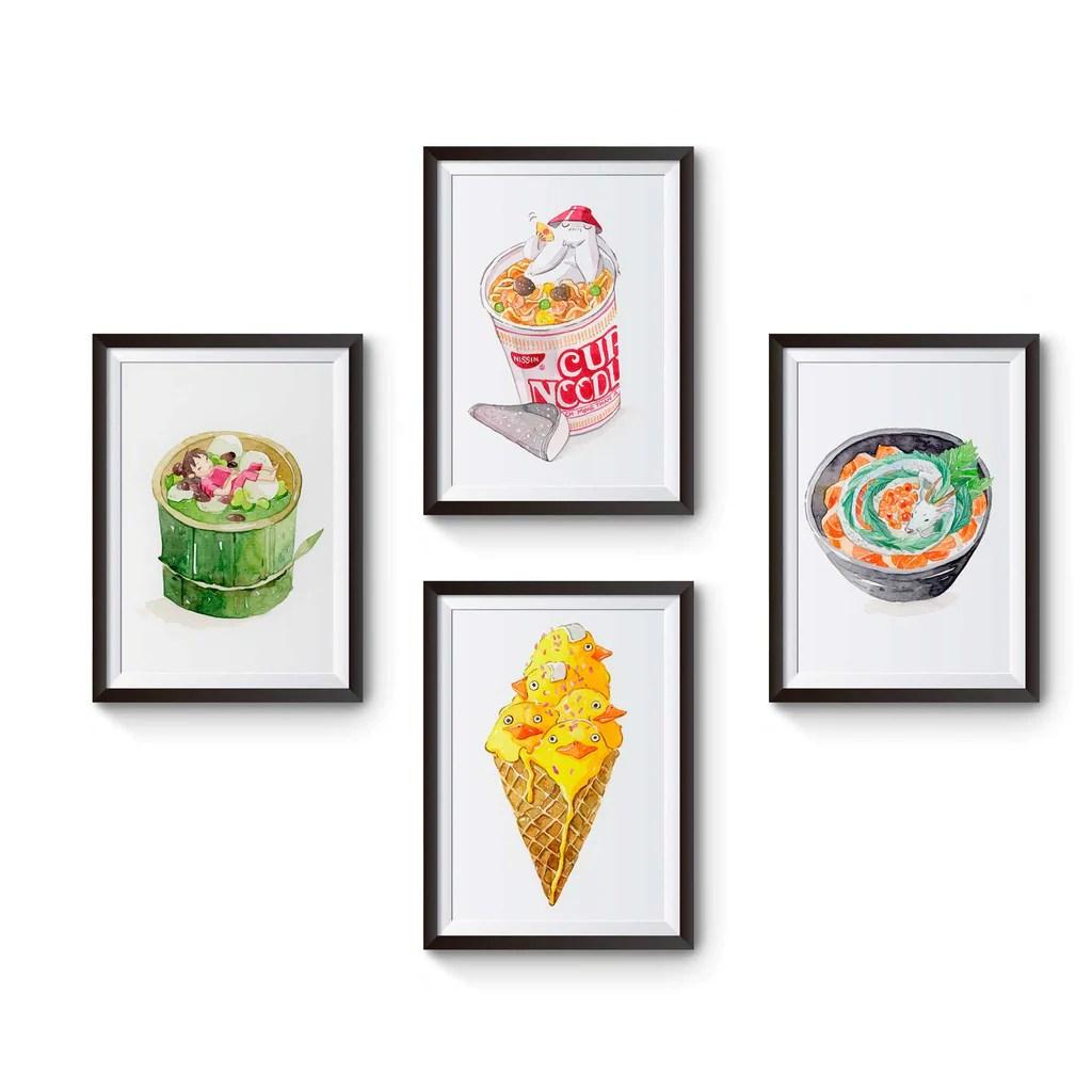framed prints for kitchens retro kitchen sets set of 4 spirited away watercolor art 5x7