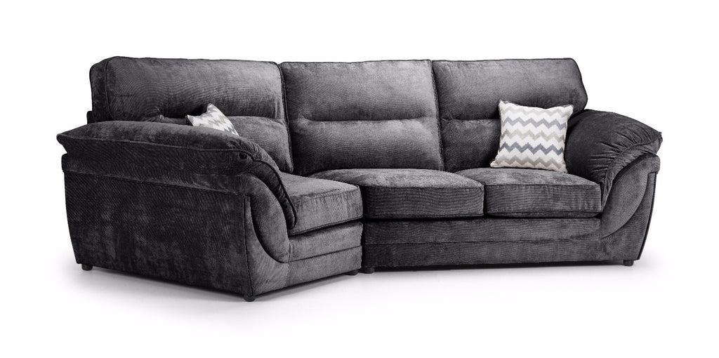 charcoal grey leather corner sofa scandinavian uk khloe left hand