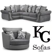 Swan Corner Sofa & Large Swivel Chair Set  KC Sofas