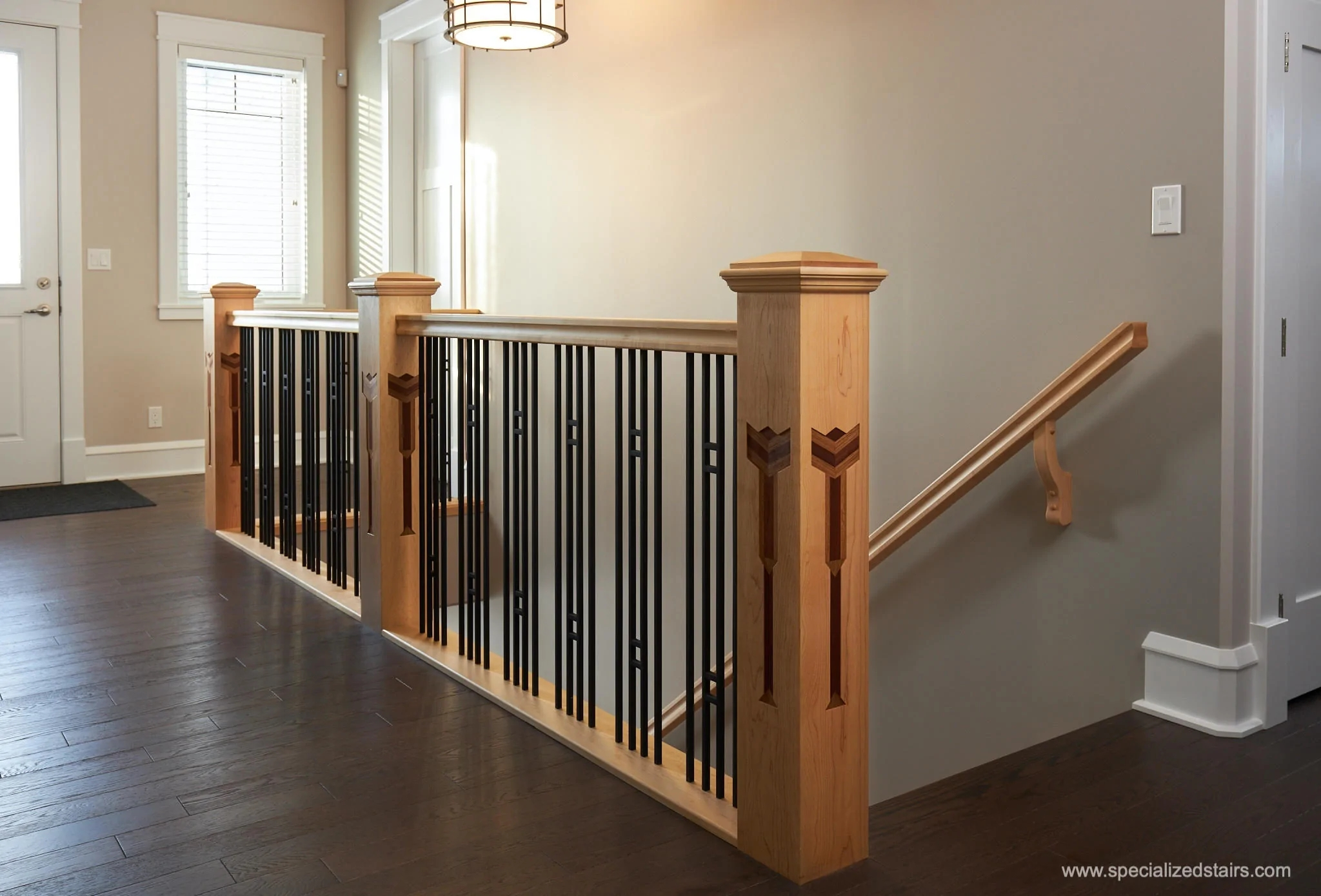 Make Your Stairs A Lasting First Impression – Custom Newel Posts   Custom Wood Stair Railing   Natural Wood   Barn Beam   Metal Spindle   Attic Stair   Rail