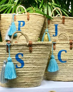 initial monogrammed straw bag