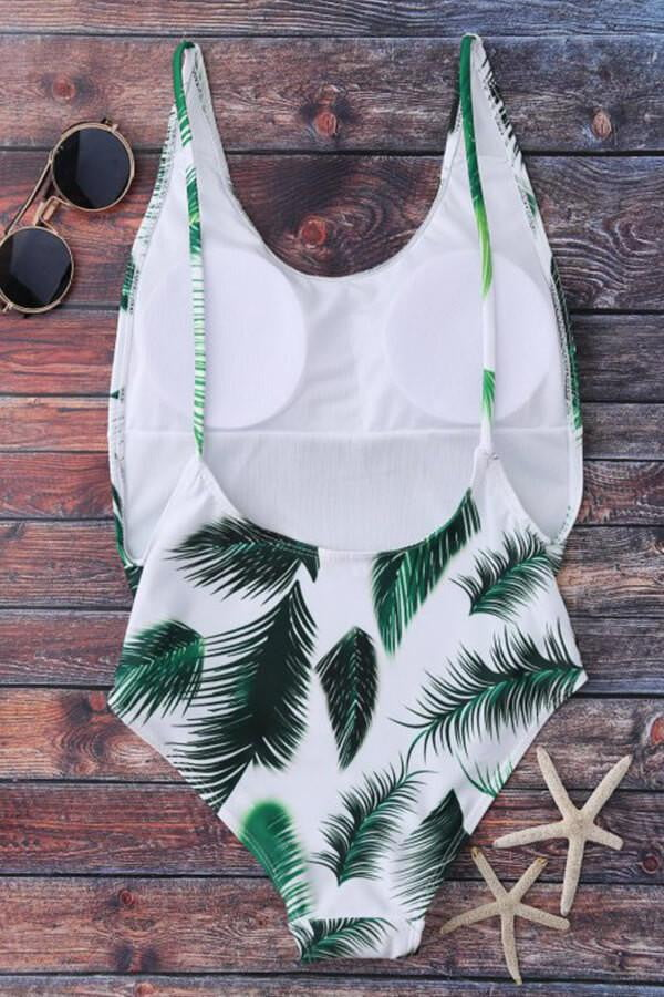 Floralkini White Leaf Print Backless Monokini