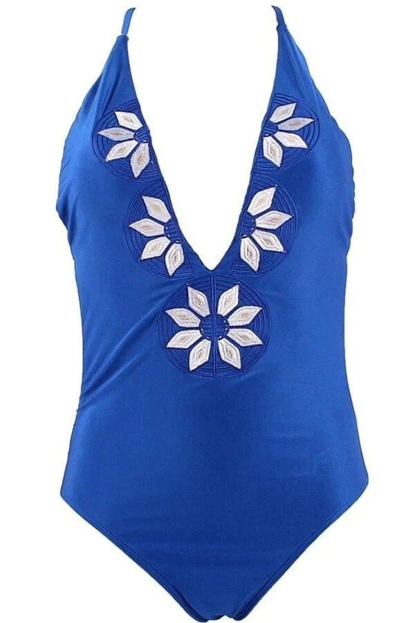 Floralkini Embroidered Cami One-Piece Swimwear