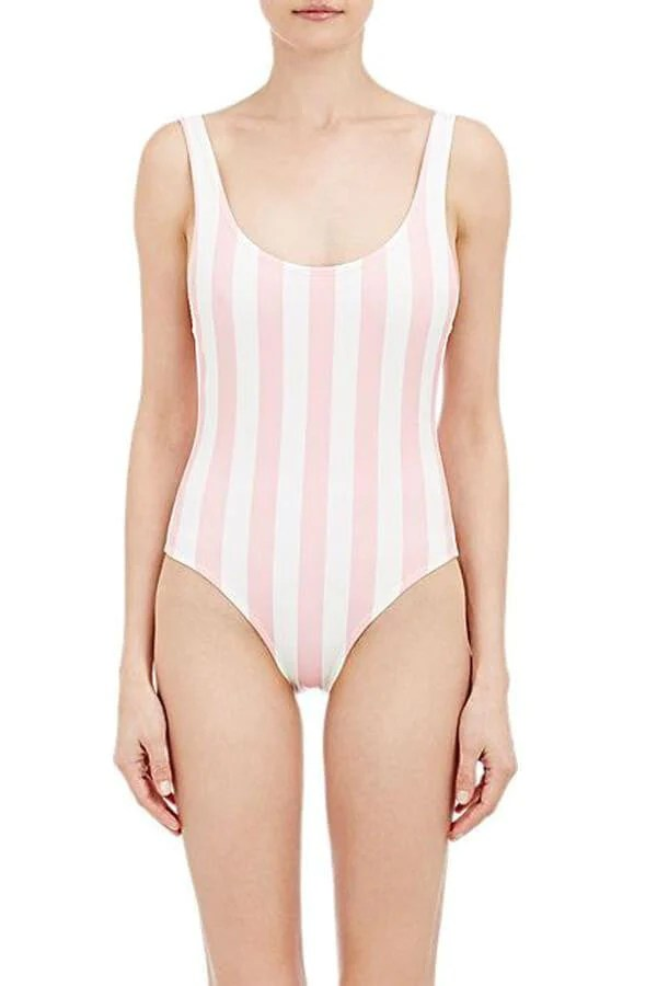 Floralkini Pink Striped Deep V Neck One Piece Swimsuit