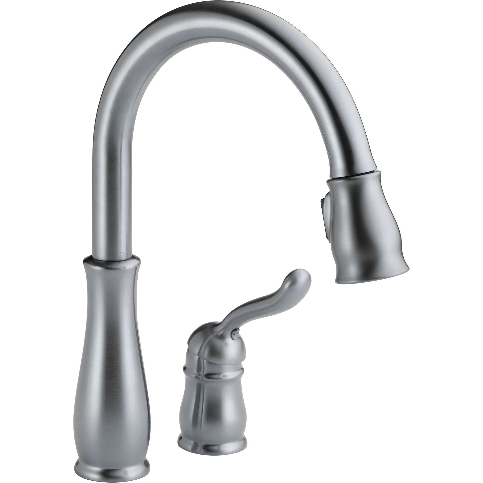 delta leland arctic stainless two hole pull down sprayer kitchen faucet 610459