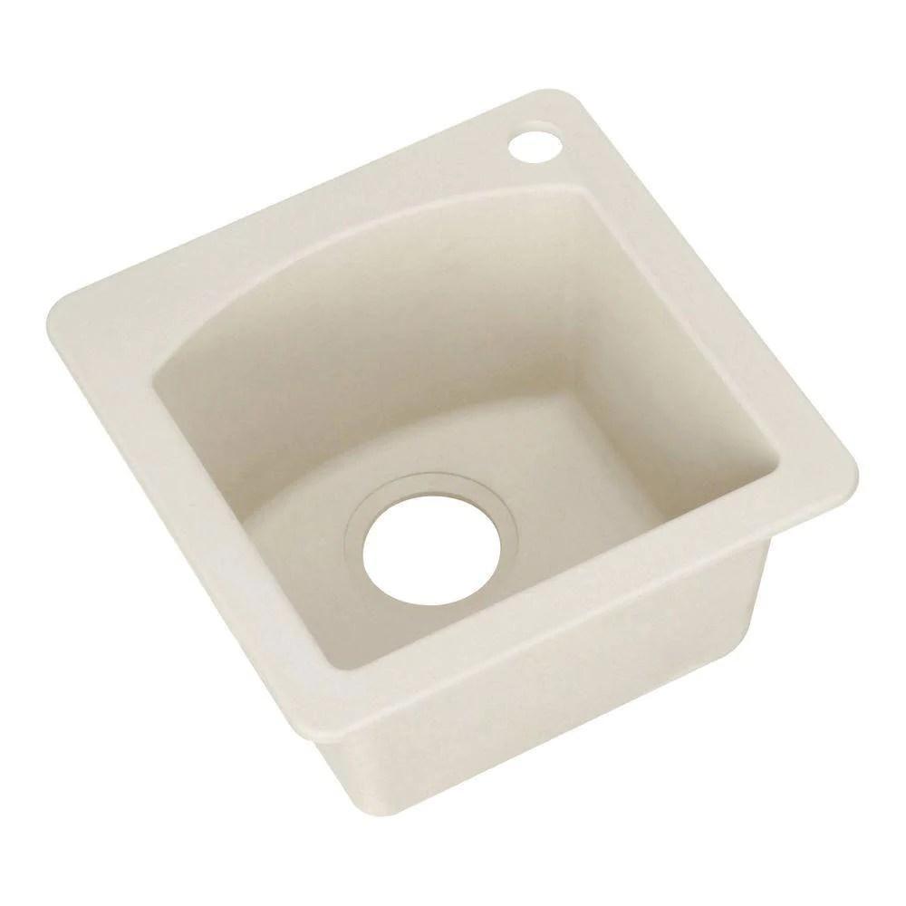 blanco diamond dual mount granite 15 inch 1 hole single bowl bar sink in biscuit 222185