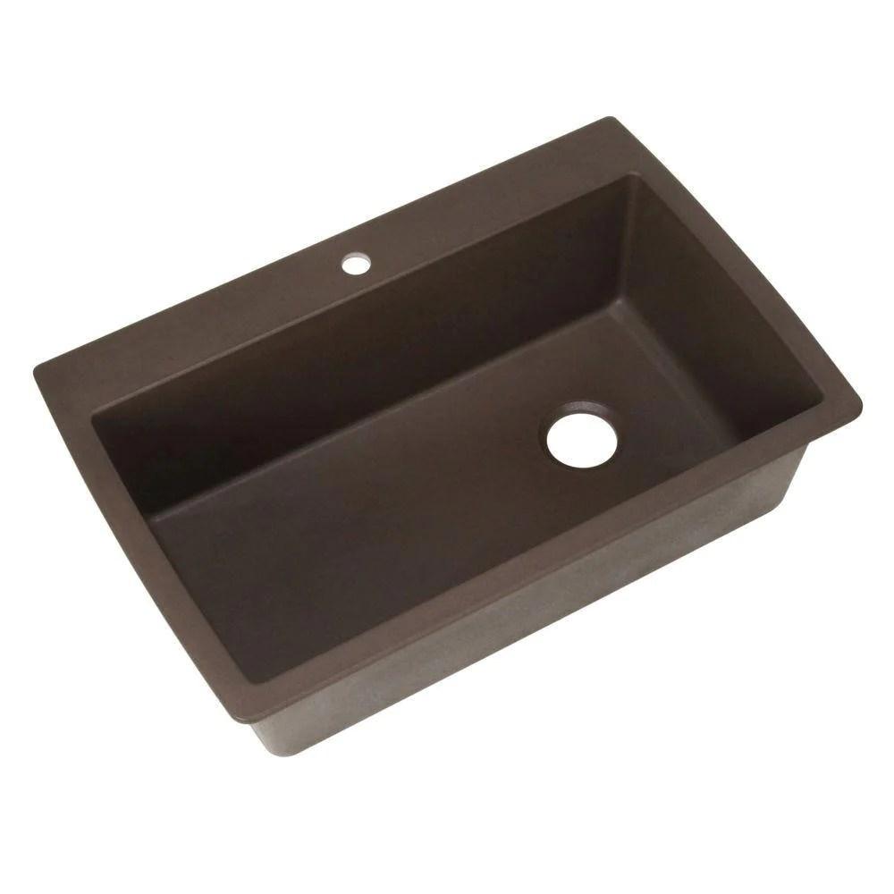 blanco diamond dual mount granite 30 inch 1 hole single bowl kitchen sink in cafe brown 467338