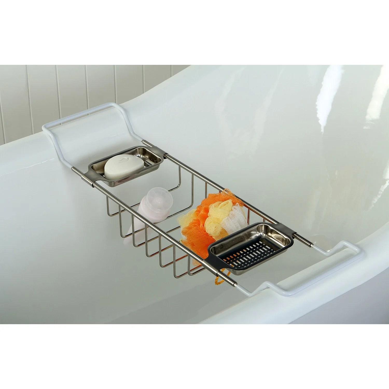 Kingston Brass Satin Nickel Clawfoot Tub Bath Tub Shelf Soap