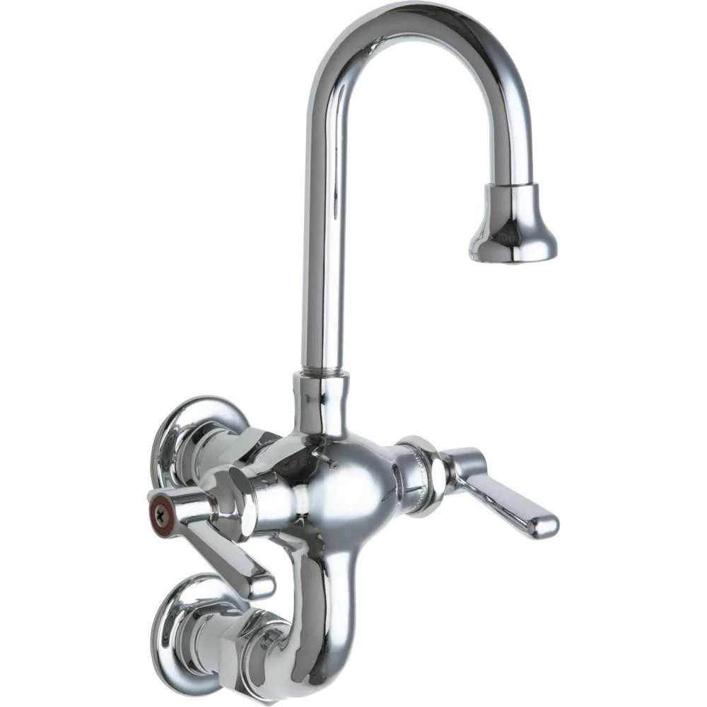 chicago faucets 2 handle kitchen faucet in chrome with 3 3 8 inch center to center rigid gooseneck spout 637987