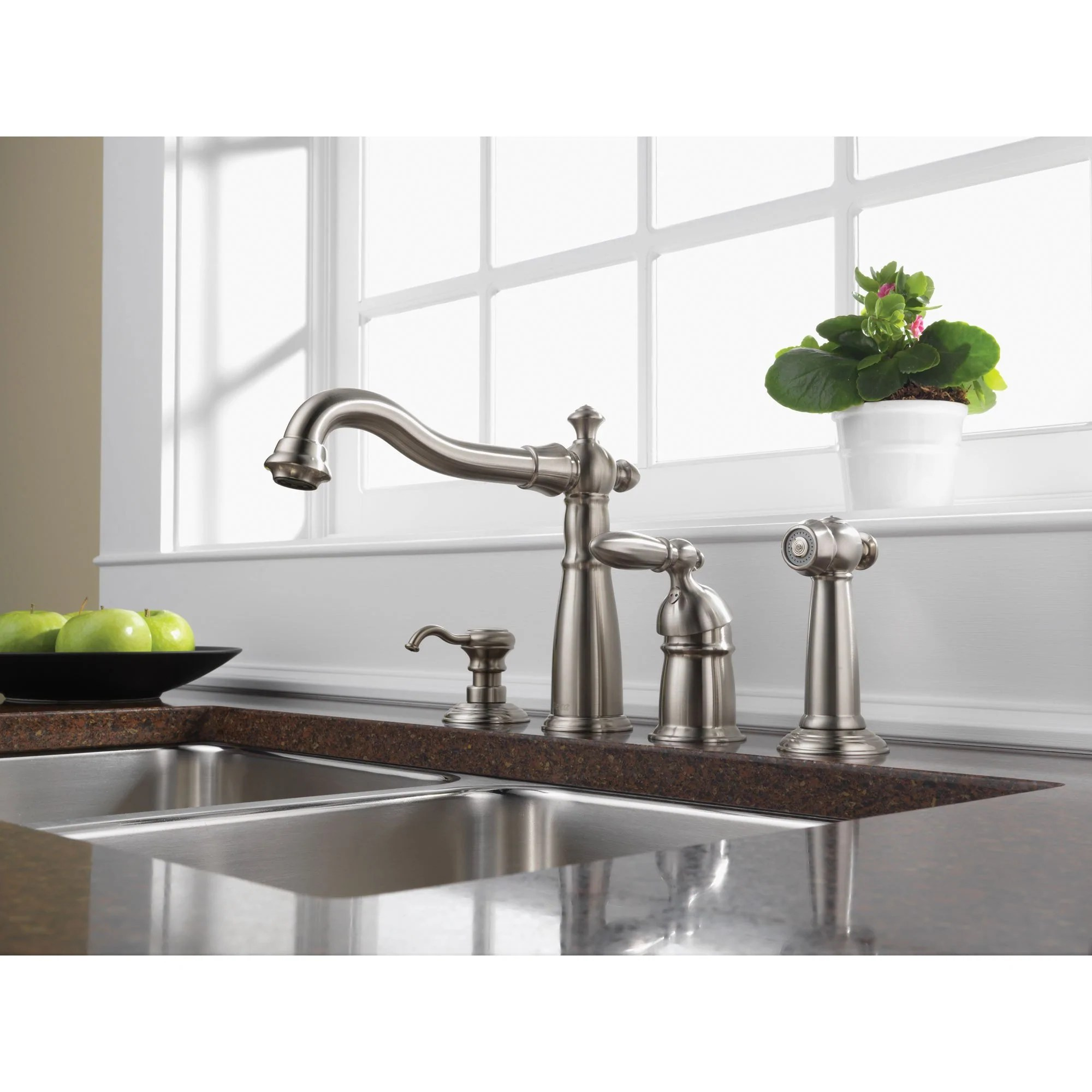 stainless steel kitchen faucets porcelain undermount sink delta victorian collection single handle fauce faucetlist com